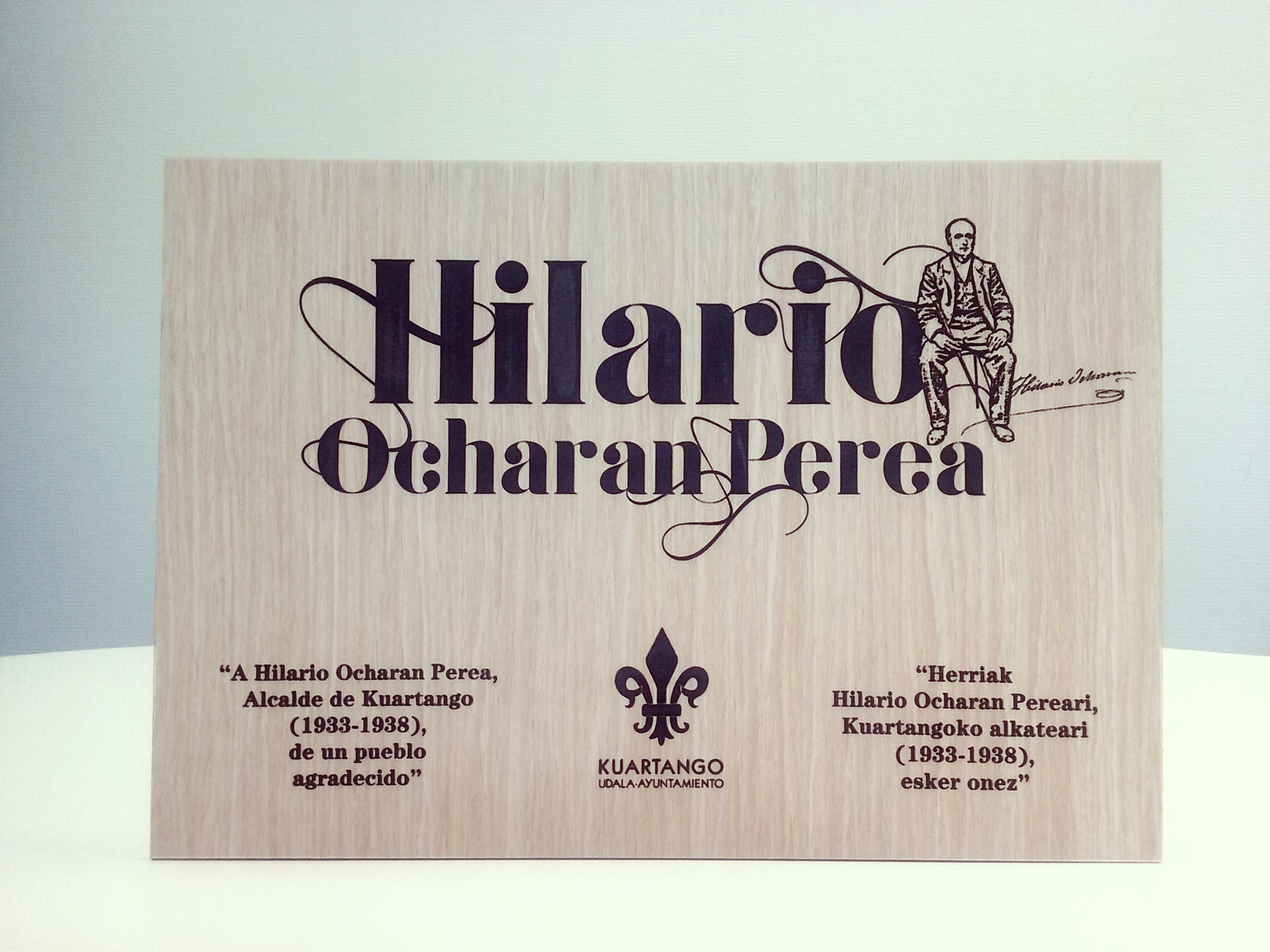 Diseño gráfico Araba, Homenaje, Hilario Ocharan, kuartango, grabado laser madera, grabolaser