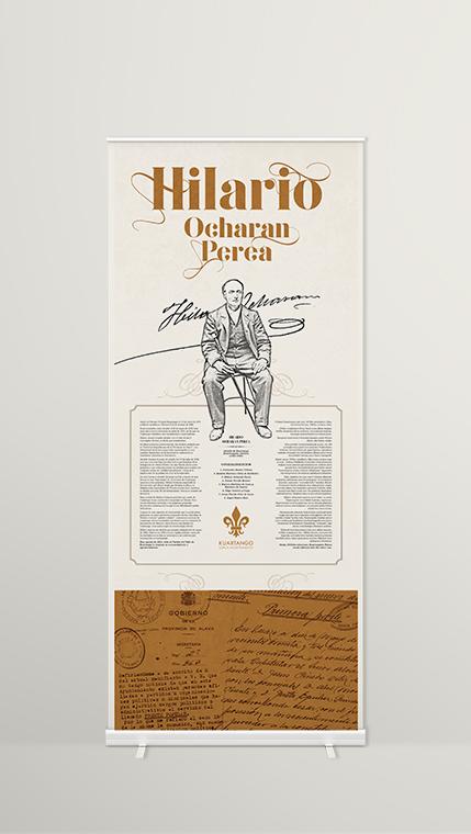 Diseño gráfico Araba, Homenaje, Hilario Ocharan, kuartango, grabado laser madera, grabolaser, Roll up diseño